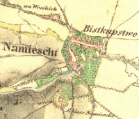 historic map showing the old Bistkupstwo village